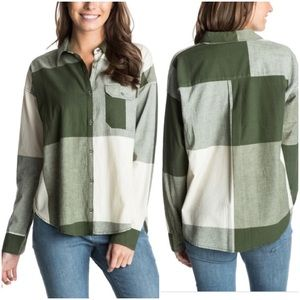 NWT Roxy Green Cypress Oversized Check Plaid Shirt